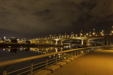 Cambie Bridge in Vancouver BC at Night