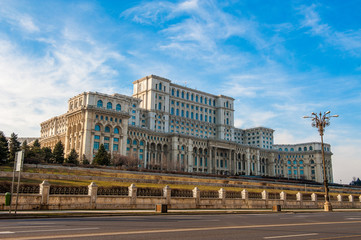 Palace of the Parliament in Bucharest, a city located in Romania