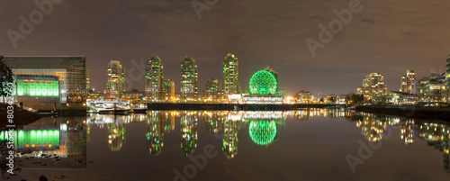 Foto op Canvas Canada Vancouver BC Cityscape by False Creek at Night