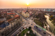 Sunset in a European city seen from above by a drone