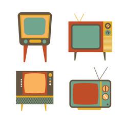 retro tv items set on white background