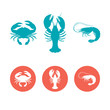 Set of the seafood flat icons