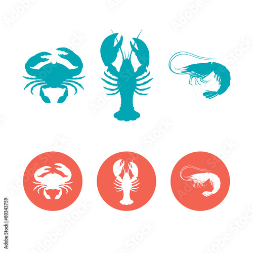 Set of the seafood flat icons - 80343759