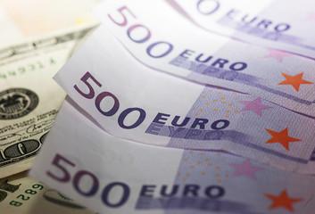 Background of euro bills.