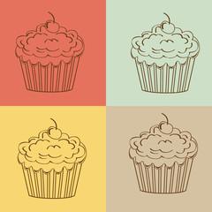 Cupcakes Seamless linear pattern