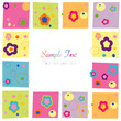 Colorful flowers square border greeting card