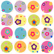 Colorful flowers abstract rounded background