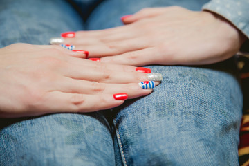 girl shows stylish manicure