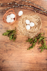 Easter composition of eggs, catkins and boxwood