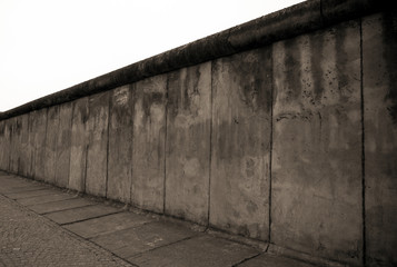 Remains of the Berlin Wall.  The Berlin Wall (Berliner Mauer) in