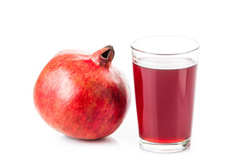 Pomegranate isolated on white background. Pomegranate juice