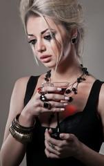 Studio portrait of depressive woman