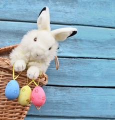 Happy Easter Bunny  in a basket and eggs.