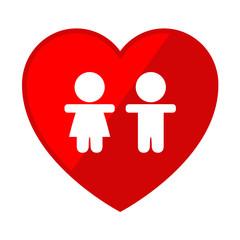 Icono corazon con simbolo infancia