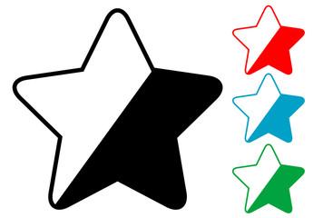 Pictograma estrella redondeada en varios colores