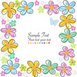 Colorful spring flowers frame vector greeting card