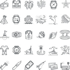 Sea leisure black line icons collection