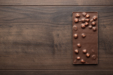 chocolate bar with whole hazelnuts