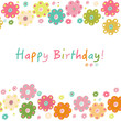 Happy birthday greeting card with colorful flowers