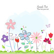 Floral abstract spring flowers greeting card - 80346342