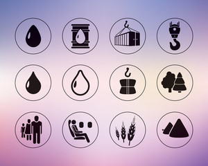 Vector industrial icons set, cargo, vector design