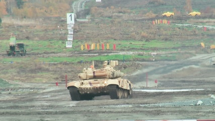 Modernized tank T-90S in action