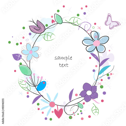 Floral abstract background vector greeting card - 80346355
