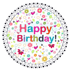 Happy Birthday circle greeting card with flowers