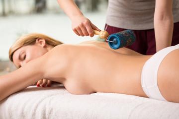 Woman having massage done