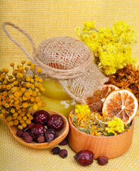 Сalendula flower, oats, immortelle flower, tansy herb, honey, w