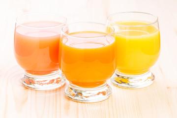 Three glasses of fresh natural juice.