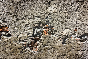 ruined wall with plaster