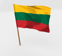 Lithuania isolated windy flag on a brown mast 3d illustration