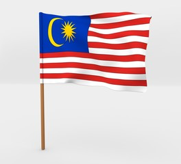Malaysia isolated windy flag on a brown mast 3d illustration
