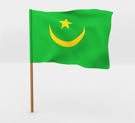 Mauritania isolated windy flag on a brown mast 3d illustration