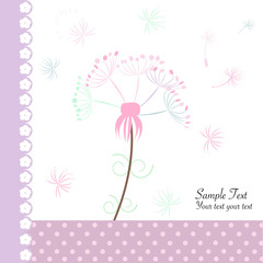 Abstract floral dandelion greeting card vector