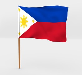 Philippines isolated windy flag on a brown mast 3d illustration