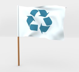Recycle symbol isolated windy flag on mast 3d illustration