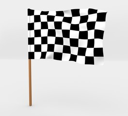 Race isolated windy flag on a brown mast 3d illustration