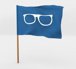 Glasses symbol isolated windy flag on mast 3d illustration