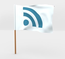 RSS symbol isolated windy flag on a brown mast 3d illustration