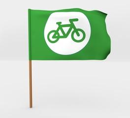 Bicycle symbol isolated windy flag on mast 3d illustration