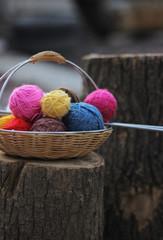 balls of yarn in the basket