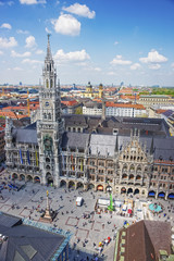 Munich city hall and Marienplatz square aerial view