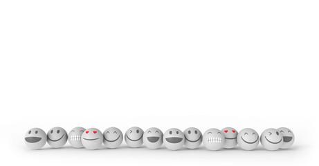Happy Smileys in weiß