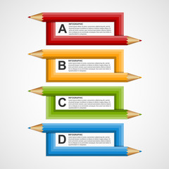 Abstract education pencil option Infographics design template.