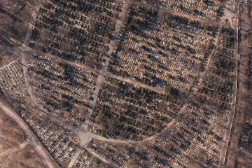 aerial view of  graveyard