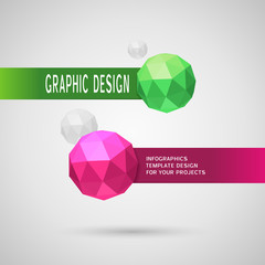 Abstract infographic design with two color spherical elements
