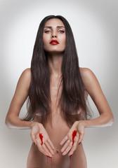 Brunette bleeding woman