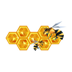 Illustration of origami honeycomb design and bees